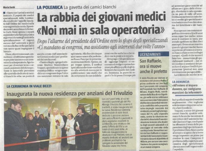 """la rabbia dei giovani medici """"noi mai in sala operatoria""""- IL GIORNALE 15-01-2013"""